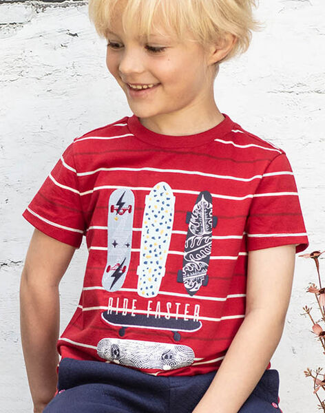 Baby Boy's Red and White Striped T-Shirt BADROAGE / 21H3PG11TMC050