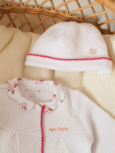 White baby girl sleep socks and bonnet ZOLOUANE B / 21E0NFY1GRE000