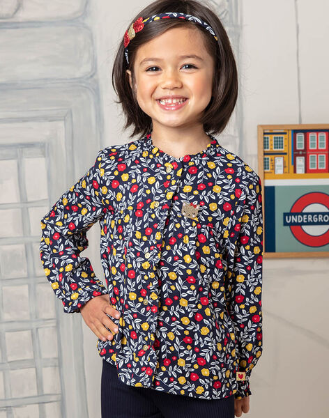 Girl's navy blue and red floral print blouse BIDIETTE / 21H2PF51CHE070