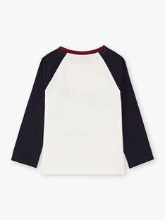 Boy's navy blue and ecru T-shirt BETINAGE / 21H3PG92TML001