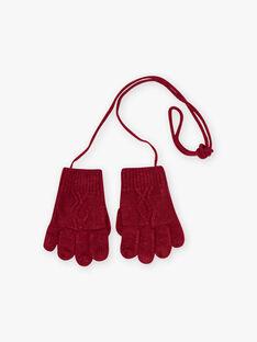 Girl's blackberry knitted mittens BLOLYETTE / 21H4PFD3GAND302