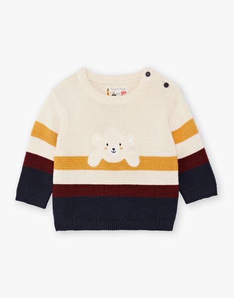 Baby Boy's Beige and Yellow Knit Sweater BAFLO / 21H1BG51PUL801
