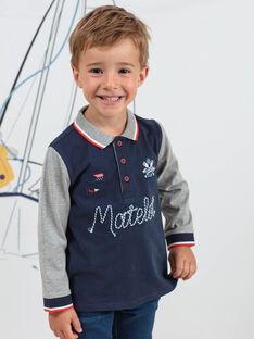 Boy's two-tone long sleeve polo shirt with marine motifs BINANAGE / 21H3PGL1POLC205