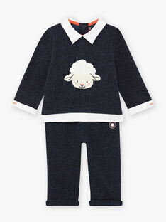Baby boy's mottled blue outfit with sheep print BANICK / 21H1BGL1ENSC223