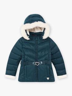 Girl's duck blue heart belt down jacket BLODODETTE2 / 21H2PFE2D3E714