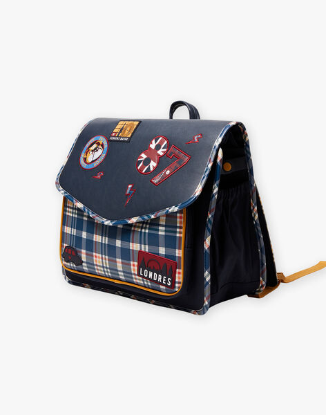Navy blue satchel with London pattern and checkered print child boy BAZECAGE / 21H4PG52BES070