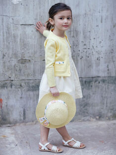 Lemon yellow openwork knit vest child girl ZICADETTE / 21E2PFO1CARB104