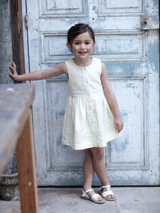 Lemon yellow dress with stripes child girl ZIRAYETTE / 21E2PFO2CHSB104
