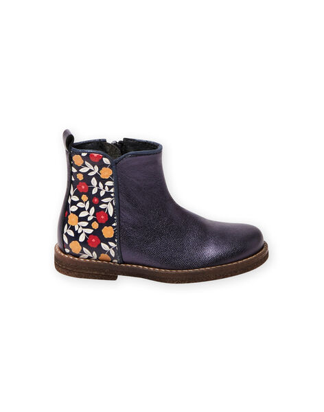 Navy blue leather boots with flower print child girl BEFLOWETTE / 21F10PF41D0D070