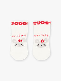 Baby girl's unbleached socks with fancy pattern BAAVENIR / 21H4BF11SOQ001