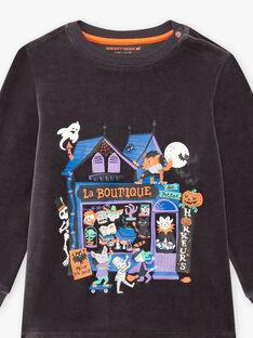 Boy's dark grey phosphorescent pyjama set with pumpkin bag BALOAGE / 21H5PGH1PYJJ905
