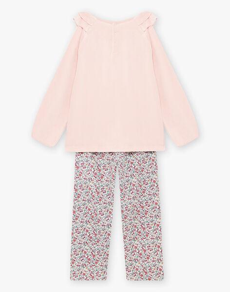 Baby girl pink velvet pajama set with cat motif BEBICOETTE / 21H5PF71PYJD329