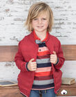 Boy's red knitted cardigan BUXATAGE3 / 21H3PGB1GIL501