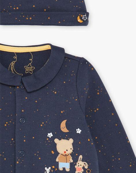 Night blue sleep suit and fleece cap set ZEBERNIE / 21E5BGH2GRE705