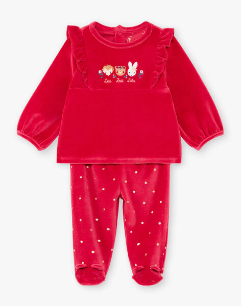 Baby girl's long-sleeved pyjama set in raspberry pink with animal prints BEBAMBI / 21H5BF61PYJ308