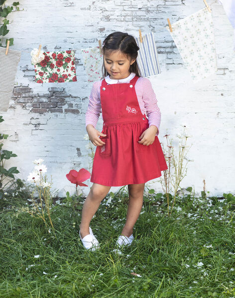 Embroidered red dungarees dress child girl BAROBETTE / 21H2PF11CHSF505