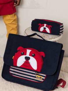 Navy blue schoolbag with bulldog design for boys BESACAGE / 21H4PG51BES070