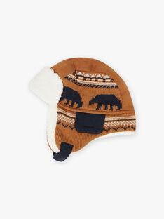 Boy camel jacquard knit capka with bear print BITETAGE / 21H4PGE3BON804