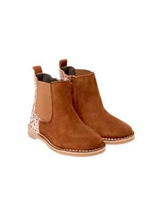 Camel suede boots with sequins child girl BECHELETTE / 21F10PF43D0D804