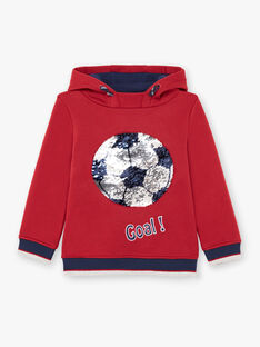 Boy's red and navy hoodie BUSWETAGE1 / 21H3PGF1SWEF527