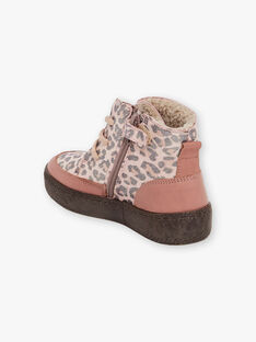 Girl pink leopard print furry boots BEBOUTETTE / 21F10PF52D0D312
