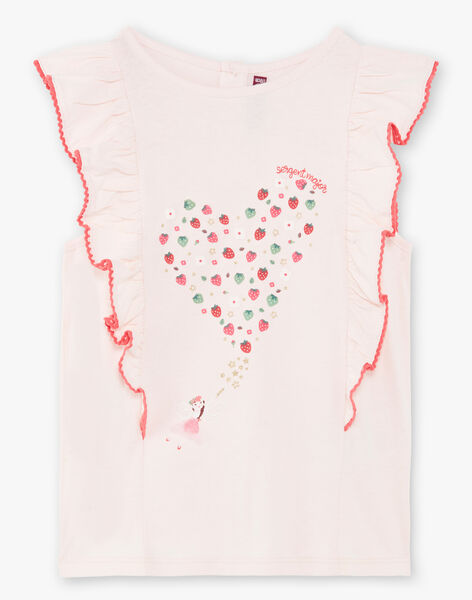 Pink T-shirt with strawberry pattern ZOMIRETTE / 21E2PFJ1TMC301