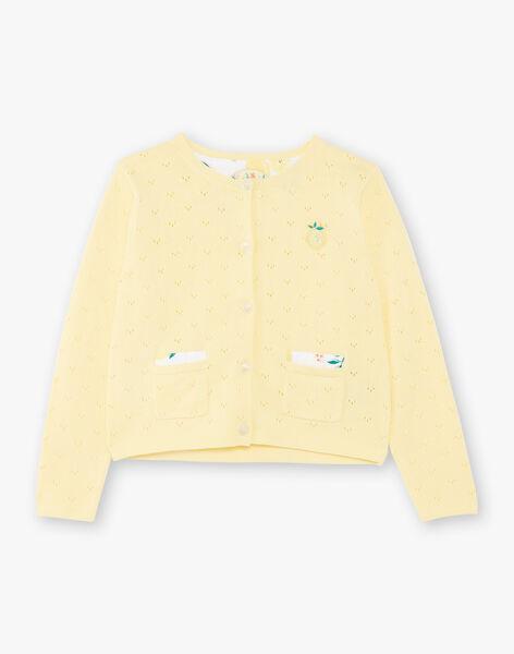 Lemon yellow openwork knit vest child girl ZICADETTE / 21E2PFO1CARB104