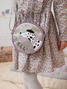 Baby girl's round silver shoulder bag with Dalmatian motif BEBAGETTE / 21H4PF21BES956
