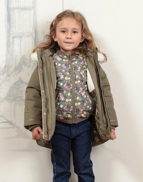 Girl's khaki hooded parka with integrated down jacket BLOTEDETTE / 21H2PFC1PAR604