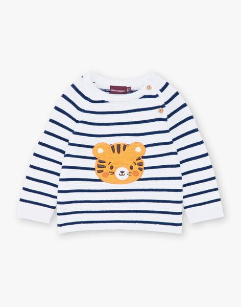 White and navy blue striped knit sweater ZAIYN / 21E1BGI1PUL001