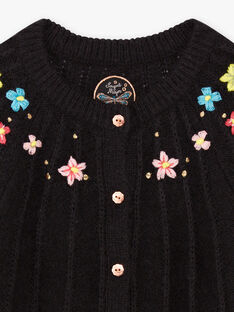 Girl's black knitted cardigan with floral embroidery BRICADETTE / 21H2PFM2CAR090