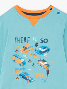 Boy's turquoise long-sleeved pyjamas with car and traffic motifs BECARAGE / 21H5PG67PYJ202