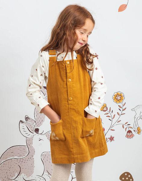 Girl's camel embroidered dress-salopette BUCHETTE / 21H2PFJ1CHS804