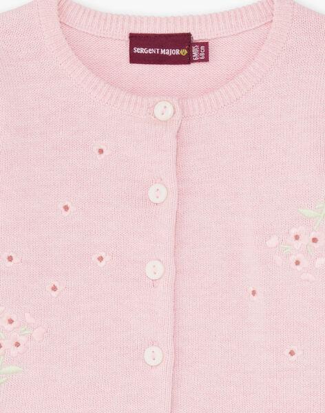 Pink cardigan long sleeves birth girl BOUCHERA / 21H0CF41CARD310