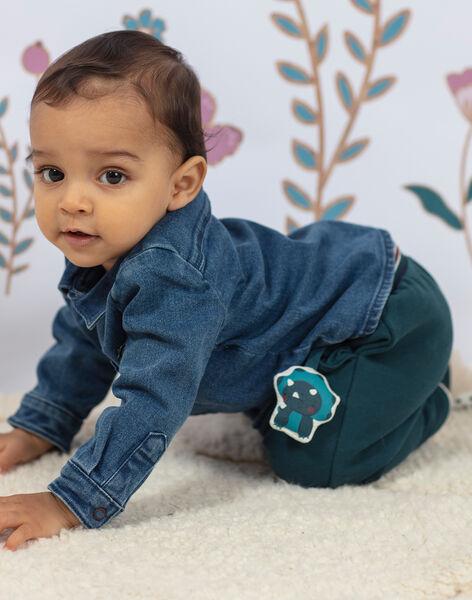 Baby boy emerald green embroidered dinosaur pants BAJENSEN / 21H1BG91PAN608