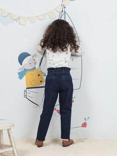 Girl's ecru and blue fancy print underpants BYSOUPETTE / 21H2PFL1SPL001