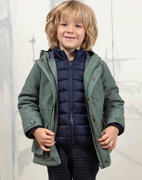 Baby boy khaki green raincoat and detachable down jacket BAPARAGE / 21H3PGC1IMP604