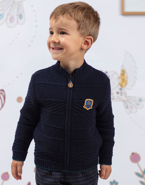 Boy's navy blue knitted cardigan BETILAGE / 21H3PG91GIL715