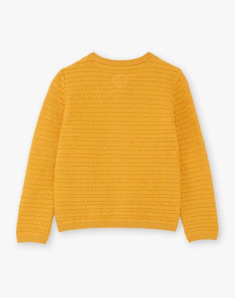 Girl's yellow knitted cardigan BILAETTE / 21H2PF51CAR109