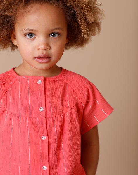 Coral and silver striped blouse in crepe cotton ZEPODETTE / 21E2PFI1CHE404