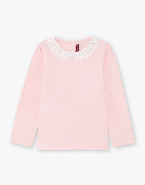 Girl's pale pink long sleeve t-shirt with claudine collar BROTOZETTE1 / 21H2PFB2TML321
