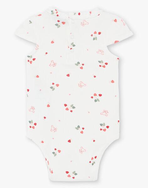 Off white short sleeved bodysuit and denim chasuble set ZAAUDREY / 21E1BFJ1ENS001