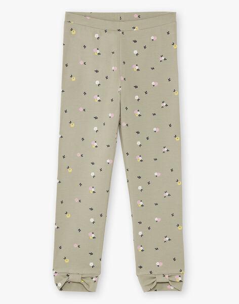 Kid's khaki floral print legging BELUETTE / 21H4PF21CAL604