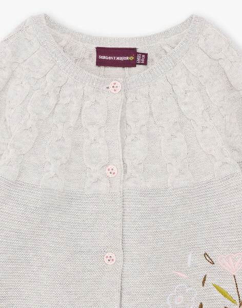 Baby girl grey knitted cardigan BACANELLE / 21H1BF21CAR943