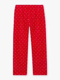 Girl's ecru and red velvet pyjama set with wolf motif BELOUPETTE / 21H5PFN1PYJ001