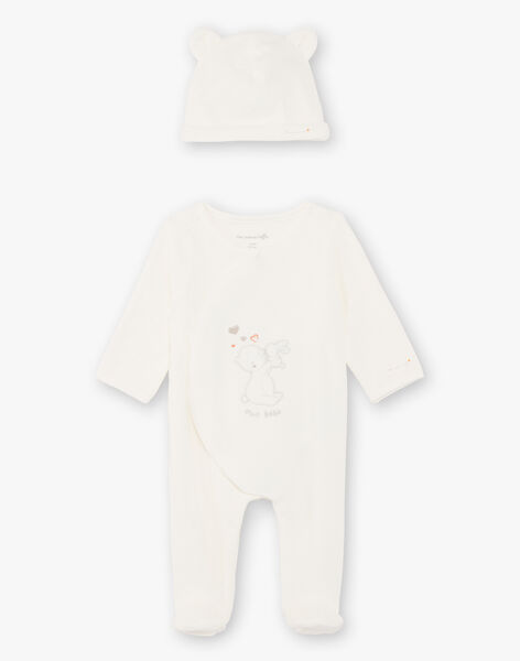 Ecru sleep suit and bonnet mixed birth BOPOLO B / 21H0NM42GRE001