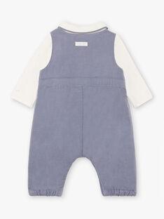 Horizon blue corduroy bodysuit and overalls set for boy BONHEUR / 21H0CG43ENS216