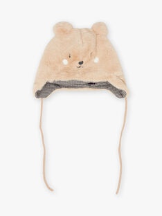 Baby boy teddy bear hat with pompons BIROMEO / 21H4BGE4BONI819