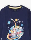 Boy's dark blue pajama set T-shirt, pants and mask BEFUSAGE / 21H5PG61PYJ717