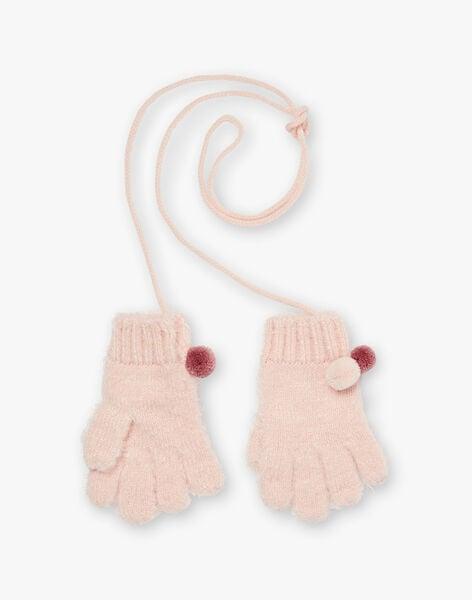 Peach knitted gloves ZOUTUNETTE / 21E4PFM2GAN311